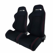 Pair JDM Red Stitching Black Racing Seats w/Sliders