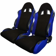 Pair JDM T-R Style Black Blue Cloth Driver+Passenger Side Racing Seats Reclinable