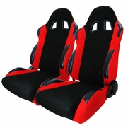 Pair JDM T-R Style Black Red Cloth Driver+Passenger Side Racing Seats Reclinable
