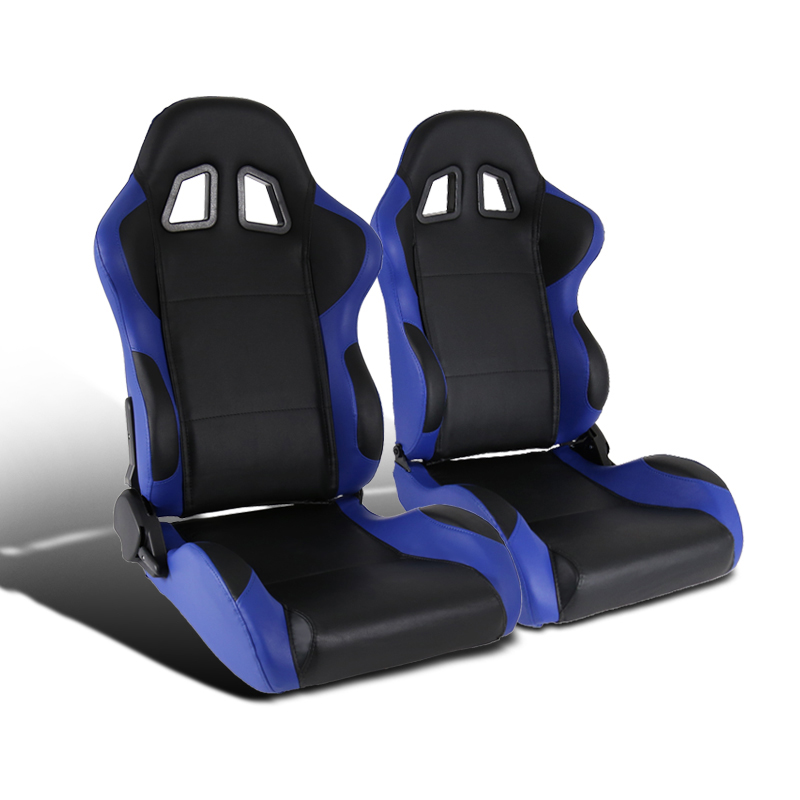 Fit Universal Black Gray PVC Leather Full Reclinable Racing Seats Pair Sliders