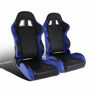 Pair of Black/Blue PVC Leather Full Reclinable Sports Racing Seats w/ Sliders