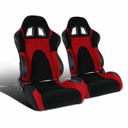 Pair of Black/Red Faux Suede PVC Leather Type-6 Sport Racing Seats w/Sliders