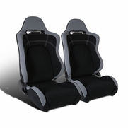 Pair of Reclinable Cloth Black Center Gray Trim Sport Racing Seats w/Sliders