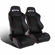 Pair of  Reclinable Red Stitching Black PVC Leather Sport Racing Seats w/ Silders