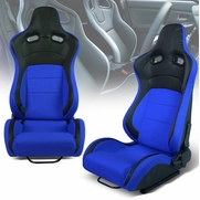 Pair of Universal Black PVC Leather Blue Woven Fabric Reclinable Racing Seats + Adjustable Slider