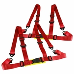 Pair Red Nylon Racing Seat Belt 4PT 4 Point Safety Harness