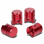 Piston Style Polished Aluinum Red Tire Vavle Stem Caps (Pack of 4)