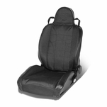 Reclining Black Stripe Woven Fabric Sporty Bucket Racing Seat Lhs/Driver Side