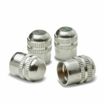 Round Style Universal Polished Aluminum Tire Valve Stem Caps - Silver