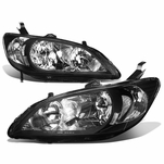Spec-D 04-05 Honda Civic 2DR Coupe JDM Style Crystal Headlights - Black