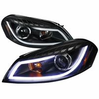 Spec-D 06-13 Chevy Impala LED DRL Strip Projector Headlights - Black