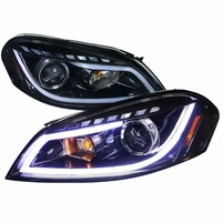 Spec-D 06-13 Chevy Impala LED DRL Strip Projector Headlights - Gloss Black