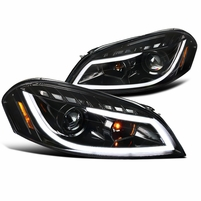 Spec-D 06-13 Chevy Impala LED DRL Strip Projector Headlights - Gloss Black / Clear