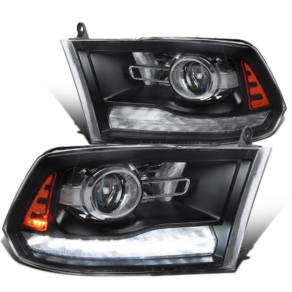 Spec-D® 09-19 Dodge Ram 1500 2500 Switchback LED DRL Sequential Projector Headlights - Black