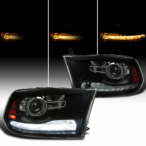 Spec-D® 09-19 Dodge Ram 1500 2500 Switchback LED DRL Sequential Projector Headlights - Black Smoked