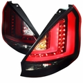 11-13 Ford Fiesta Hatchback LED Tail Lights - Red Smoked