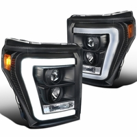 Spec-D 11-16 Ford Super Duty F250 F350 LED DRL Tube Projector Headlights - Black