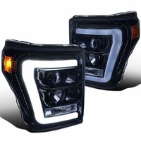 Spec-D 11-16 Ford Super Duty F250 F350 LED DRL Tube Projector Headlights - Gloss Black