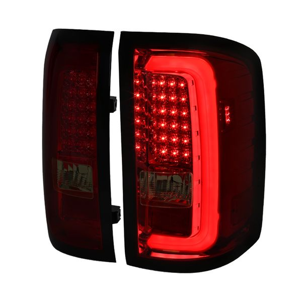 Spec-D 14-17 GMC Sierra 1500 2500HD 3500HD LED Tail Lights - Red Smoked