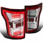 Spec-D 15-17 Ford F150 Full LED Rear Tail Lights - Red Clear