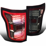 Spec-D 15-17 Ford F150 Full LED Rear Tail Lights - Red Smoked