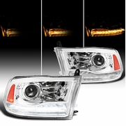 Spec-D® 09-19 Dodge Ram 1500 2500 Switchback LED DRL Sequential Projector Headlights - Chrome