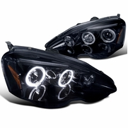 Spec-D 2002-2004 Acura RSX Angel Eye Halo & LED Projector Headlights - Gloss Black