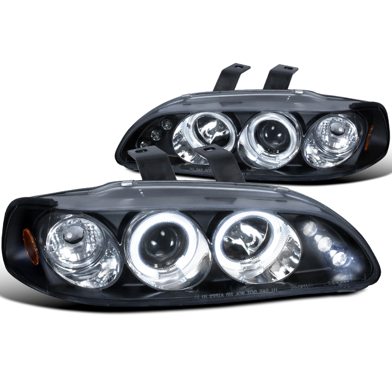 spec-d 92-95 honda civic (all model) angel eye halo led projector headlights  - black