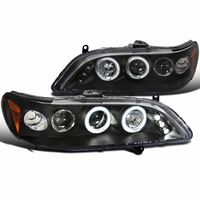 Spec-D 98-02 Honda Accord Angel Eye Halo LED Projector Headlights - Black