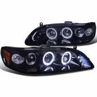 Spec-D 98-02 Honda Accord Angel Eye Halo LED Projector Headlights - Glossy Black