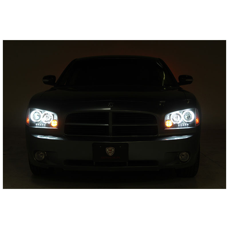 Spyder 05-10 Dodge Charger Angel Eye Halo & LED Projector