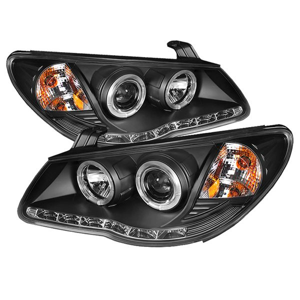 Spyder 07-10 Hyundai Elantra Angel Eye Halo LED DRL Projector Headlights - Black