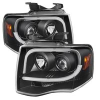 Spyder 07-14 Ford Expedition LED Tube DRL Projector Headlights - Black