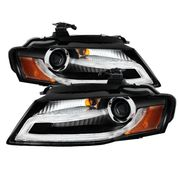 09-12 Audi A4 [Factory Xenon/HID Model Only] LED DRL Strip Projector Headlights - Black