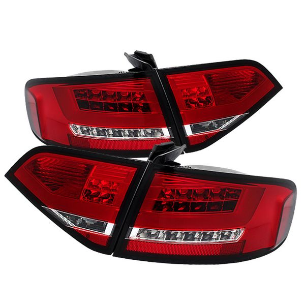 09-12 Audi A4 / S4 [Factory LED] Performance Optic LED Tail Lights - Red Clear