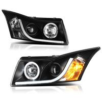 Spyder 11-13 Chevy Cruze DRL LED-Strip Halo Projector Headlights - Black