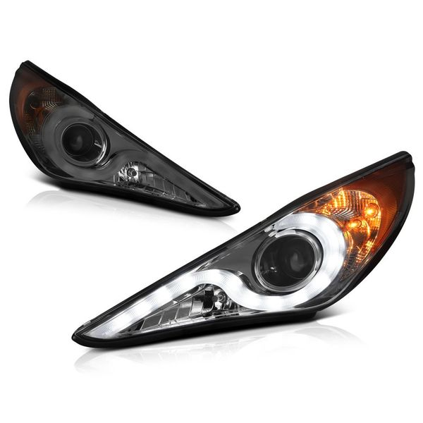 Spyder 11-14 Hyundai Sonata LED DRL Strip Projector Headlights - Smoked