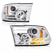 13-18 Dodge RAM [Factory Projector] LED DRL Projector Headlights - Chrome