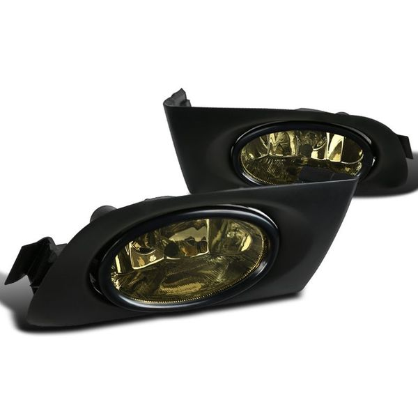 Spec-D Tuning 01-03 Fit Honda Civic 2/4dr Smoked Fog Lights Driving Bumper Lamps w/ Switch