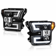 Spyder 15-17 Ford F150 LED DRL Tube Projector Headlights - Black