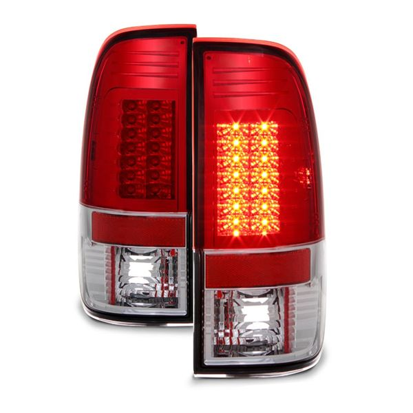97-03 Ford F150 V2 LED Tail Lights - Red Clear