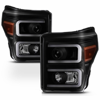 Spyder PRO-JH-FS11-LBBRL-BSM Ford F-250/F-350/F450 Super Duty 11-16 Projector Headlights - Light Bar DRL - Black Smoked