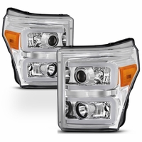 Spyder PRO-JH-FS11-LBBRL-C Ford F-250/F-350/F450 Super Duty 11-16 Projector Headlights - Light Bar DRL - Chrome