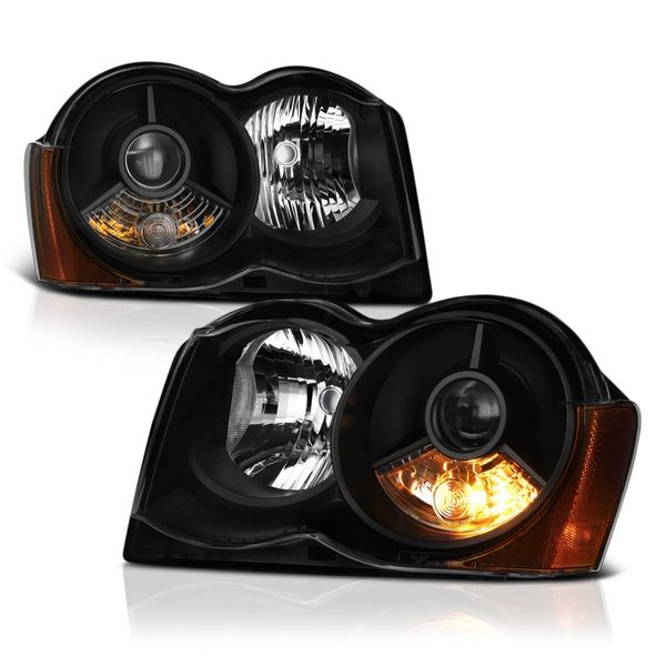 Jeep Grand Cherokee 08-10 Halogen Model Only ( Don_t Fit HID Models ) OEM Style Projector Headlights - Black