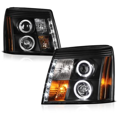 03-06 Cadillac Escalade [ Xenon/HID Model Only] LED DRL Halo Projector Headlights -  Black
