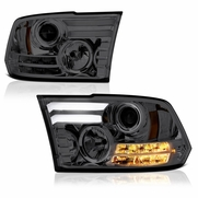 13-18 Dodge RAM [Factory Projector] LED DRL Projector Headlights - Smoked