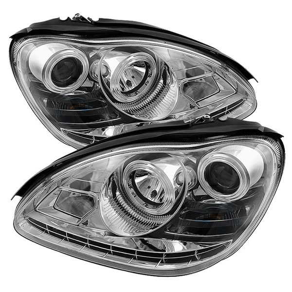 03-06 Mercedes Benz S-Class [Xenon/HID Model Only] LED DRL Projector Headlights - Chrome