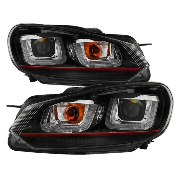 Volkswagen Golf / GTI 10-13 Version 3 Projector Headlights - Halogen Model Only ( Not Compatible With Xenon/HID Model ) - Dual U DRL - Black