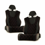 Spyder RST-CG-03-BKRX-DR PAIR CG Style Racing Seat PU (Double Slider) - Black/Black