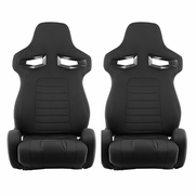 Spyder RST-R33-04-BK-DR PAIR R33 Style Racing Seat PU SP Fabric (Double Slider) - Black/Black